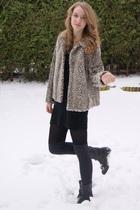 brown Zara coat - black Vero Moda dress - gray H&M socks - black Urban Outfitter