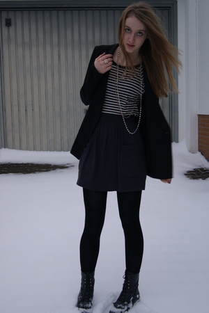 black SilenceNoise blazer - black Zara shirt - gray American Apparel skirt - bla