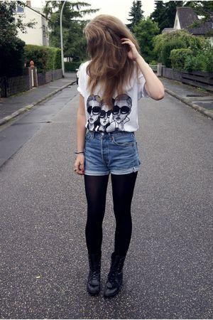 white Danny Roberts shirt - black Urban Outfitters boots - blue Levis shorts