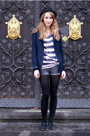 Zara hat - vintage blazer - Zara shirt - Cheap Monday shorts - Topshop shoes