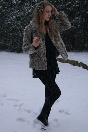 brown Zara coat - black Topshop dress - brown  accessories