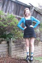 black dress - teal Dangerfield socks