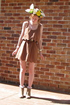 tan boots - brown dress - white DIY accessories