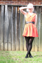 salmon dress - black belt - black stockings - black flats