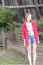 red corduroy shirt - blue denim shorts
