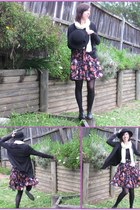 hat - Cream scarf - floral skirt - stockings - black cardigan