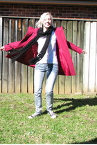 black scarf - hot pink wool coat - heather gray jeans - white t-shirt