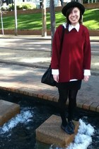 hat - crimson sweater - black skirt - stockings - white blouse