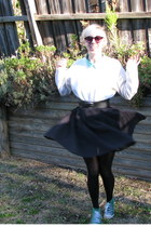 black dotti sunglasses - white sweater - aquamarine blouse - black belt