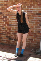 black romper - blue socks - black Vans sneakers