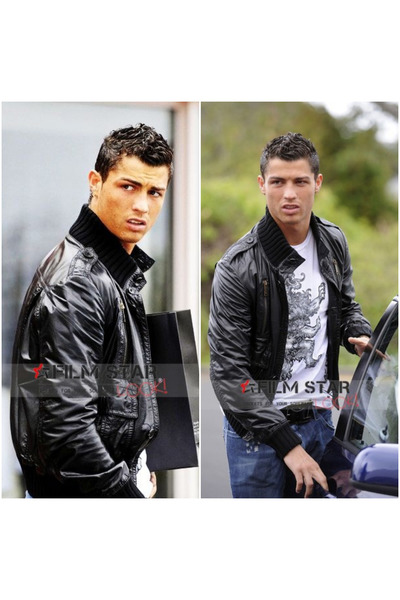 3bec658d3 Football Players Cristiano Ronaldo In Black Bomber Leather Jacket. Updated  on Feb 27, 2017. Flimstarlook jacket