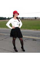 Forever 21 sweater - Wilster skirt - Ellen Tracy tights - franco sarto shoes - c