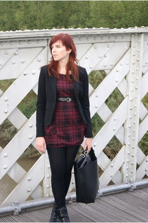 blazer - boots - dress - bag