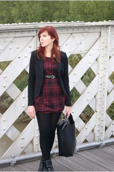 blazer - boots - dress - bag