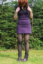 black H&M blouse - purple unknown brand dress - black tights - purple boots