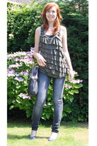 green Urban Outfitters top - gray Only jeans - blue YKX shoes - silver Urban Out