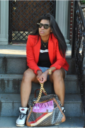 black Iceberg top - red H&M blazer - tawny goyard bag - light blue H&M shorts