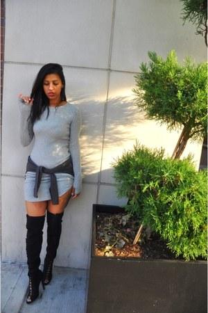 black Zizi girl boots - silver H&M dress - heather gray Zara sweatshirt