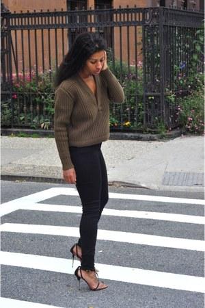 black H&M shoes - black Topshop jeans - light brown H&M sweater