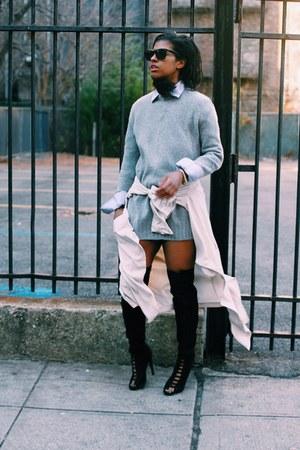 black Ziggy boots - eggshell H&M jacket - heather gray Zara sweater