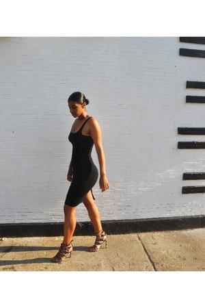 tan Zara shoes - black Zara dress