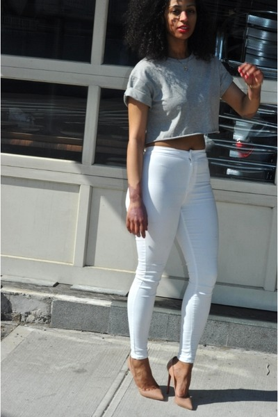 a70acbac14bc silver Topshop shirt - nude Christian Louboutin shoes - white Topshop jeans