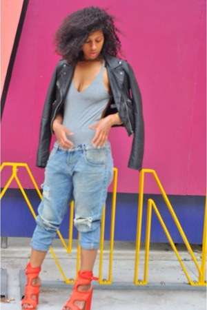 red shoes - blue H&M jeans - black Topshop jacket - silver asos bodysuit