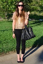 metallic golden Forever 21 bracelet - leather Michael Kors bag