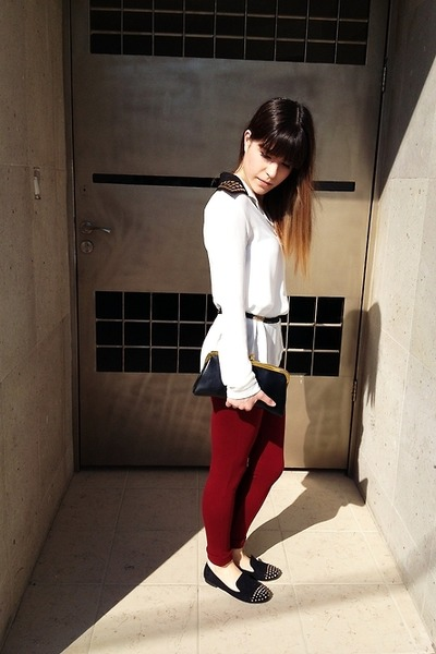white necessary clothing shirt - brick red Zara leggings - black vintage bag