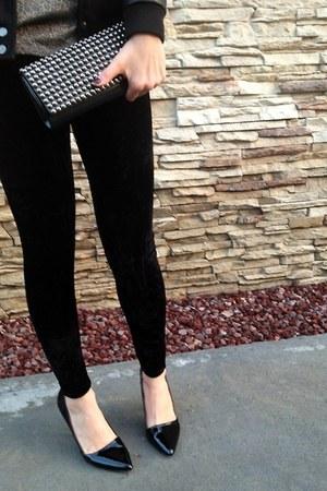black Forever21 jacket - black vintage leggings - gold vintage shirt