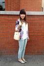 Floral-shirt-h-m-shirt-vintage-bag-vintage-bag