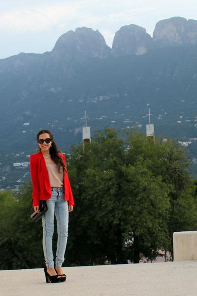 red Century21 blazer - light blue H&M jeans