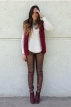 crimson fur vest Forever 21 vest - crimson leather Forever 21 boots