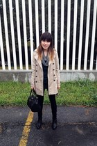 beige Zara coat - black Zara leggings - forest green Zara shirt