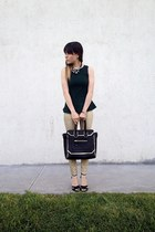 silver Forever 21 sandals - black Aldo bag - forest green Zara blouse