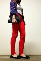 red H&M pants - navy red birds Old Navy shirt - black vintage bag