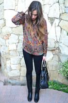 silk print apt9 blouse - black pull&bear boots - black Zara leggings