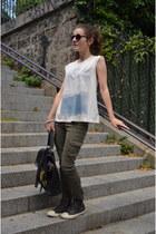 dark gray Converse shoes - black Sushi bag - white Ralph Lauren Denim t-shirt