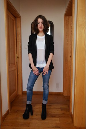 blue Zara jeans - black Only blazer - off white Zara top