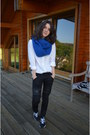 Black-new-balance-shoes-ivory-sandwich-shirt-blue-scarf-black-g-raw-pants