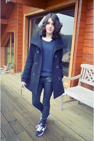 black New Balance shoes - black Esprit coat - blue liu jo sweater
