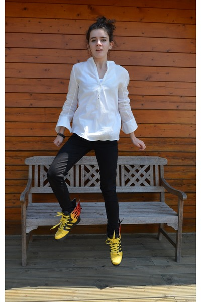 Zadig & Voltaire shirt - Zara pants - jeremy scott for adidas sneakers