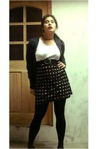 white t-shirt - black skirt - black cardigan - black shoes - black panties