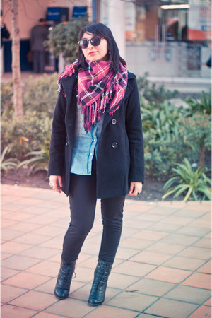 hot pink oversized Street scarf - black everyday Sybilla coat