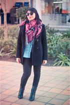 hot pink oversized Street scarf - black everyday Sybilla coat