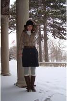 dark brown unknown brand boots - black H&M hat - heather gray Target tights - bl