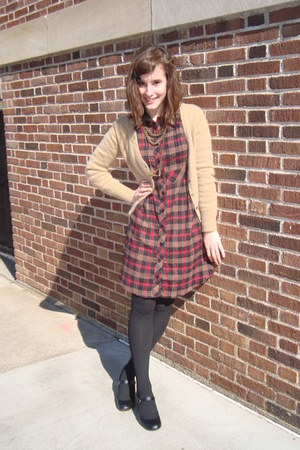 crimson plaid decree dress - black Target tights - black Payless heels - camel H