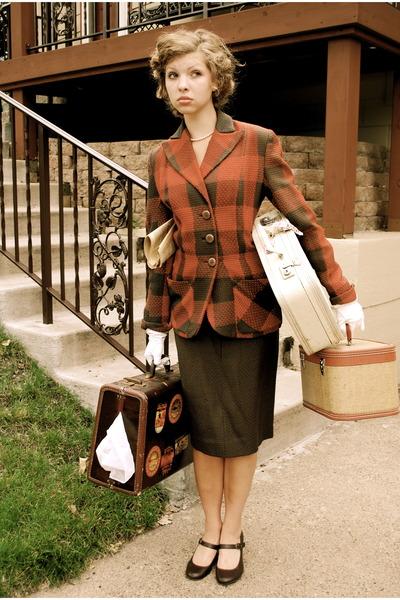 red tweed blazer vintage jacket - brown mary jane heels Payless shoes