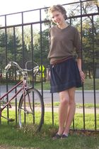 brown thrifted sweater - blue H&M skirt - brown three dotsifted belt - brown Aer