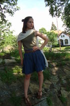 brown Goodwill shoes - blue Old Navy skirt - brown Goodwill belt - green Penneys